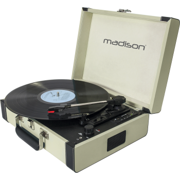 Madison MAD-RETROCASE-CR Giradiscos Retro con Bluetooth, Usb, Sd y Grabación