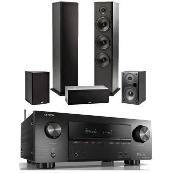 Denon Equipo AV AVR-X2600 + Polk T50 + T30 + T15 Altavoces Home Cinema.