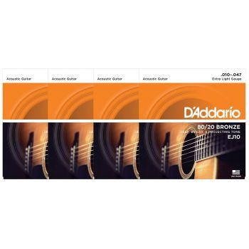 D Addario EJ10 Juego Cuerdas de Guitarra Acústica Pack 4 Unidades