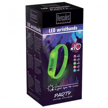 Hercules DJ Pack 10 Pulseras Multicolor. LED WRISTBANDS PACK