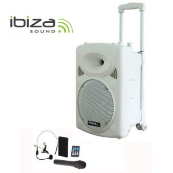 "IBIZA SOUND PORT12VHF-BTW Altavoz 12"" Blanco Bluetooth con batería.-"