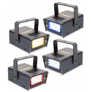 Beamz Conjunto de 4 mini LED Strobo RYBW 153325