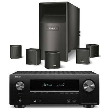 DENON AVR-X2500+Bose AM-6V Black Conjunto Home Cinema