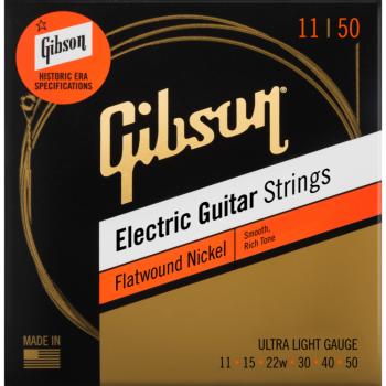 Gibson Flatwound Electric Guitar Strings Ultra-Light Cuerdas para Guitarra Eléctrica