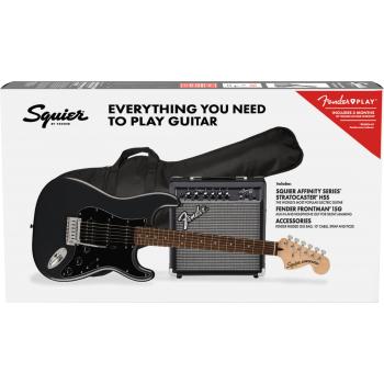 Fender Squier Affinity Stratocaster HSS LRL Charcoal Frost Metallic + Frontman 15G + Funda Guitarra Eléctrica