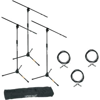 Quik Lok A-302PACK-1 Pack de 3 Soportes Microfono A302  + 3 Cables XLR-XLR - Funda Incluida