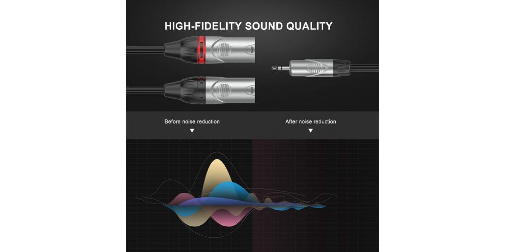 cable 2 xlr macho a minijack stereo 6 metros audibax negro mh