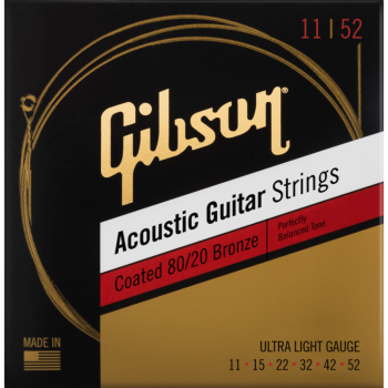Gibson Coated 80/20 Bronze Acoustic Guitar Strings Ultra-Light Cuerdas Guitarra Acústica