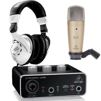 Behringer Pack U-Phoria Estudio Interface USB UM2 + Micrófono Estudio Behringer C1+ Auriculares Estudio Behringer HPS3000