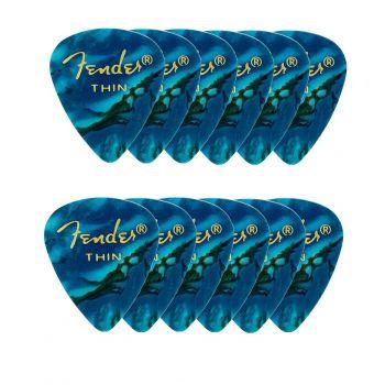 Fender 351 Shape Premium Picks Thin Ocean Turquoise. Pack 12 Puas