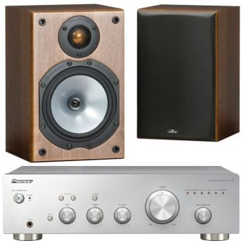 Pioneer A-10Silver+Monitor Audio MR1 Walnut Conjunto Audio