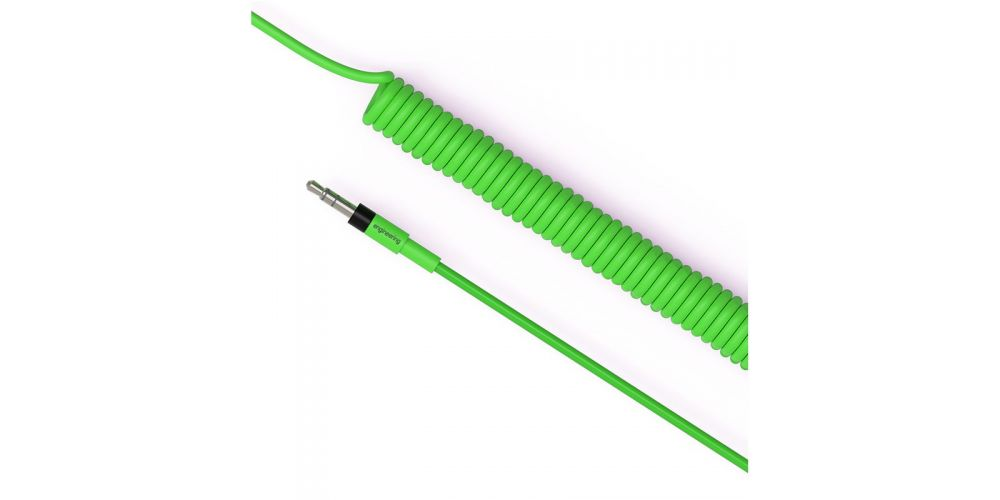 teenage engineering curly audio cable neon green