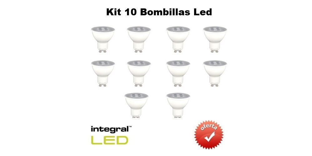 INTEGRAL KIT 10 Bombillas Led GU10, 5,3 W, 395 Lumenes,LF