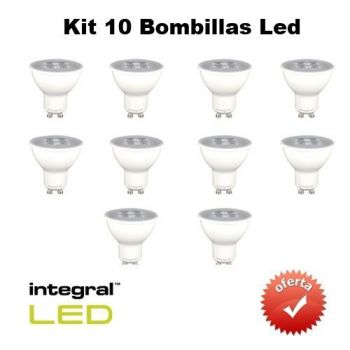INTEGRAL KIT 10 Bombillas Led GU10, 5,3 W, 395 Lumenes,LF