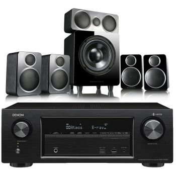 DENON Equipo AV AVR-X1500H + Wharfedale DX2 . Altavoces Home Cinema