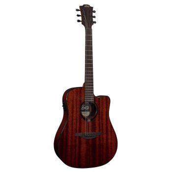 LAG T90DCE Guitarra Electro Acústica Formato Dreadnought con Cutaway Cuerpo de Caoba