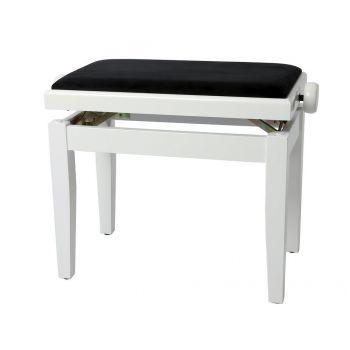 GEWA 130030 Banqueta de Piano Deluxe Blanco brillante Tapizado blanco