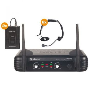SKYTEC STWM712H Micro Inalambrico 2 Canales VHF doble cabeza 179178