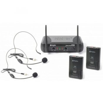 VONYX STWM712H Micro Inalambrico 2 Canales VHF doble cabeza 179178 By-Skytec