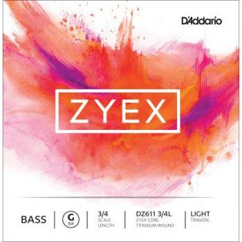 D´addario DZ611 Cuerda Suelta Contrabajo Zyex Sol (G) 3/4 Tensión Suave