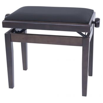 GEWA 130160 Banqueta de Piano Deluxe Nogal oscuro mate 2 Tapizado negro