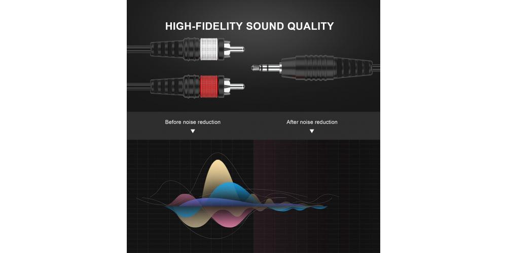 conexion mini jack 3 5mm stereo a 2 rca negro audibax mh