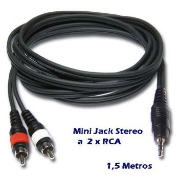 Cable Mini Jack 3,5mm Stereo a 2 RCA Macho 1,5 m RF:651 Audibax