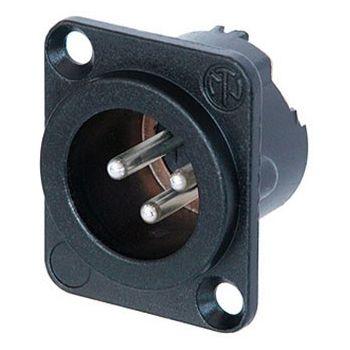 Neutrik NC3MD-LX-B Conector de chasis de 3 pines, terminales de soldadura, caja negra cromada, contactos chapados en oro
