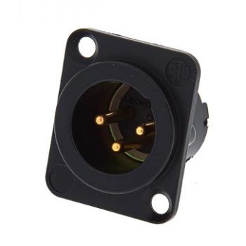 Neutrik NC3 MD-LX-B Conector chasis 3 pines XLR chapados en oro, caja negra cromada
