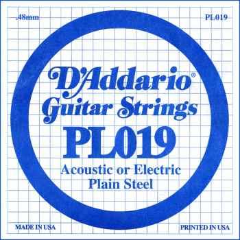 D´addario PL019 Cuerda Suelta para Guitarra Eléctrica y Acústica