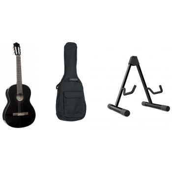 YAMAHA C-40 BL ll Guitarra Clásica Negro + Funda + Soporte de Suelo