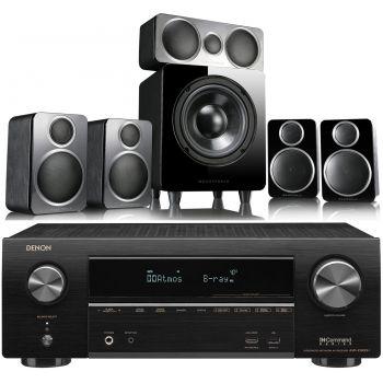Denon Equipo AV AVR-X1600H + Wharfedale DX2 Black Conjunto Home Cinema