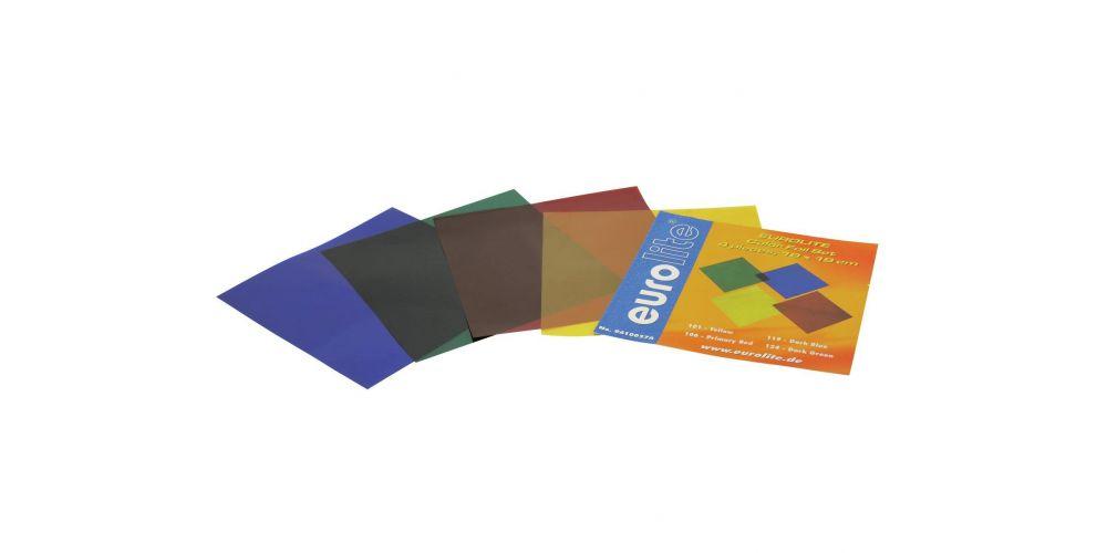 eurolite juego de laminas de colores 19x19cm 4 colores