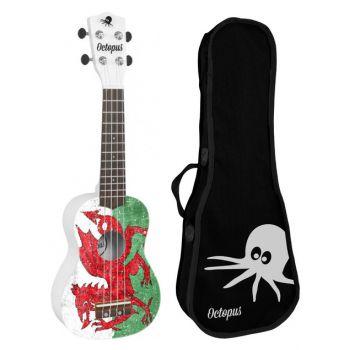 Octopus UK-205 WEL Ukelele Soprano Welsh Flag con Funda