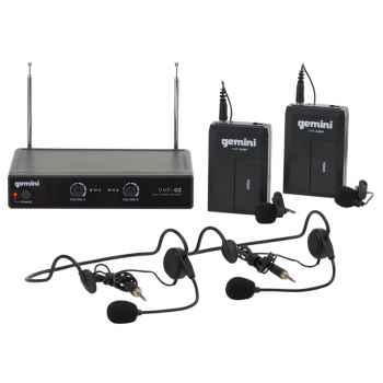 GEMINI VHF-02HL S4/8 Microfono Inalambrico Doble Diadema / Solapa