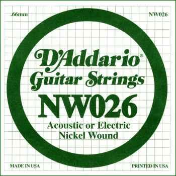D´addario NW026 Cuerda Suelta para Guitarra Eléctrica