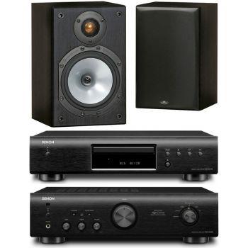 DENON PMA-520-BK+DCD520-BK+Monitor Audio MR1 BK Conjunto Audio