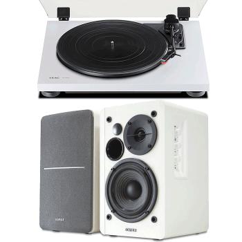 Equipo HiFi TEAC TN-180BT WH Giradiscos Bluetooth + Edifier R1280T Altavoces Activos Blancos