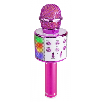 max KM15P Micrófono de Karaoke con Altavoz, bt y mp3 incorporado e Iluminación led, Rosa 130147