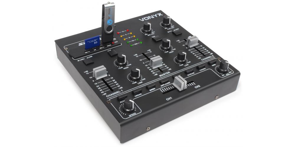 Vonyx STM 2250 Mezclador de 4 canales con USB MP3 Negro 172979 By Skyrec