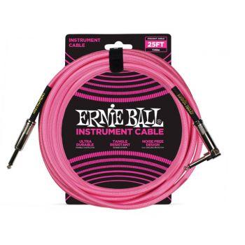 Ernie Ball 6065 Cable Instrumento Trenzado JACK-JACK 7,62 Metros Rosa