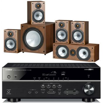 Yamaha RXV485+Monitor Audio Power 1 Walnut Conjunto Home Cinema