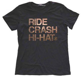 Istanbul Agop T-shirt Ride Crash Hi-Hat Black Talla L