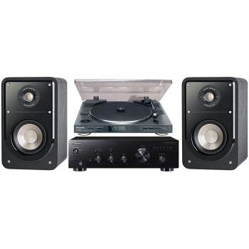 Pioneer A-10K+PL990+Polk Audio S-15BK Conjunto Audio