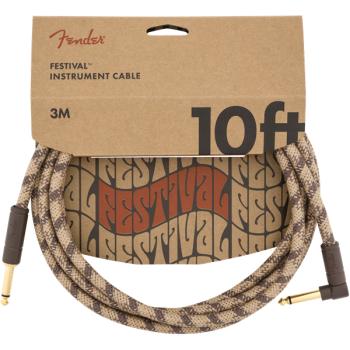 Fender Festival Cable Jack Recto a Jack Acodado Pure Hemp Brown Stripe. 3 Metros