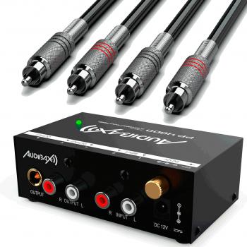 Audibax PP4000 Preamplificador Previo Phono RIAA. Interruptor ON/OFF.+ Cables Premium RCA 3 Metros