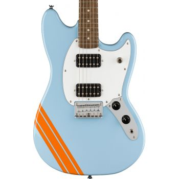 Fender Squier FSR Bullet Competition Mustang HH LRL Daphne Blue - Orange Stripes. Guitarra Eléctrica