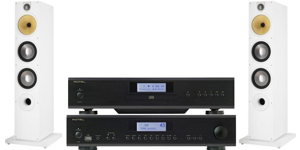 rotel a14 amplificador hifi cd14 bw683 s2 white
