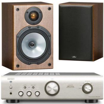 Equipo HiFi. Amplificador DENON PMA-520 S + Altavoces Estantería Monitor Audio MR1 walnut