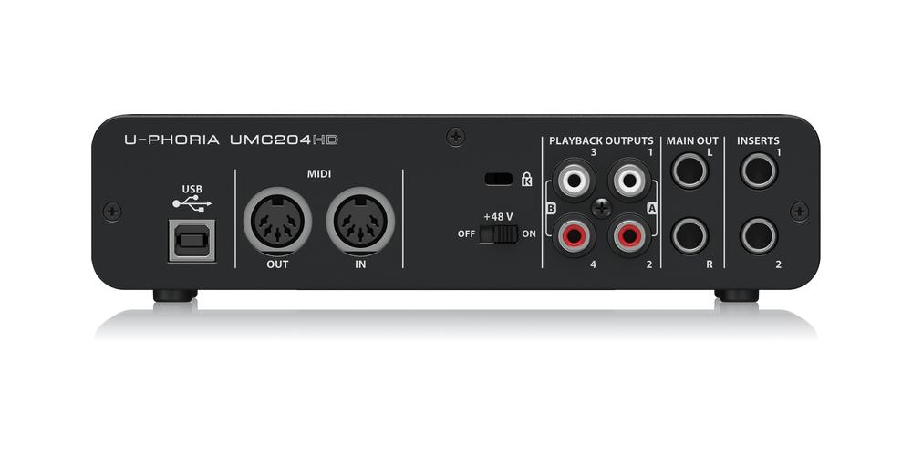 UMC204HD behringer tarjeta sonido conexiones